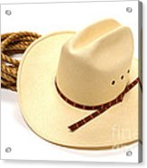 Cowboy Hat And Rope Acrylic Print