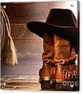 Cowboy Hat On Boots Acrylic Print by Olivier Le Queinec