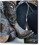 Cowboy Hat And Cowgirl Boots Acrylic Print