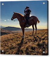 Cowboy Looks Out Over Historic Last Acrylic Print