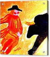 Cowboy Rodeo Clown And Black Bull 1 Acrylic Print
