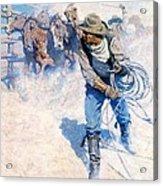 Cowboy Roping Wild Horses Acrylic Print