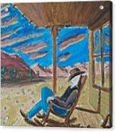 Cowboy Sitting In Chair At Sundown Acrylic Print