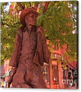 Cowboy Statue In Front Of The Brown Palace Hotel In Denver Acrylic Print