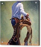 Cowboy With Saddle Acrylic Print
