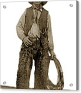 Cowboy With Woolies Cowboy Hat 1900 Acrylic Print