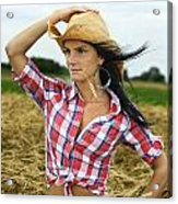 Cowgirl Holding Hat Vertical Acrylic Print