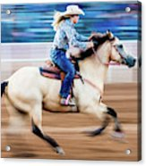 Cowgirl Rides Fast For Best Time Acrylic Print
