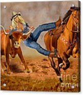 Cowgirl Steer Wrestling Acrylic Print