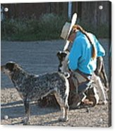 Cowgirl With Her Dogs Acrylic Print