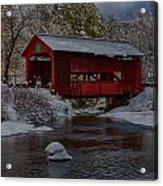 Cox Brook Runs Under Covered Bridge Acrylic Print
