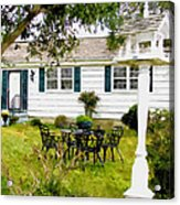 Cozy Little Back Yard Terrace With Table And Chair Acrylic Print