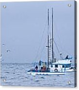 Crab Boat Dropping And Pulling Their Pots Acrylic Print