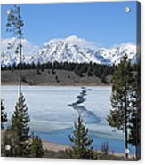 Cracked Ice On Jackson Lake Grand Teton Np Wyoming Acrylic Print