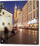 Cracow By Night In Poland Acrylic Print