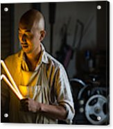 Craftsmen Holding A Lightning Bolt Shaped Neon Light Acrylic Print
