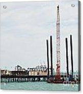 Crane Barge At Hastings Pier Acrylic Print