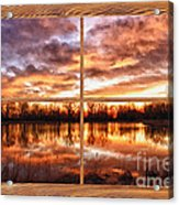 Crane Hollow Sunrise Barn Wood Picture Window Frame View Acrylic Print