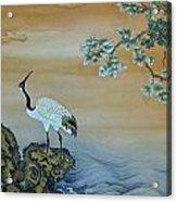 Crane Perched On A Rock At Dawn Acrylic Print