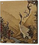 Cranes Beside A River With A Plum Tree Acrylic Print