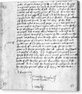 Cranmer Declaration, 1537 Acrylic Print