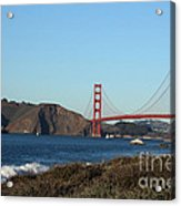 Crashing Waves And The Golden Gate Bridge Acrylic Print by Linda Woods