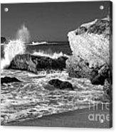 Crashing Waves Bw Acrylic Print