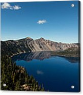 Crater Lake And Boat Acrylic Print