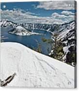 Crater Lake And Wizard Island In June Acrylic Print