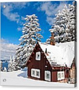 Crater Lake Home - Crater Lake Covered In Snow In The Winter. Acrylic Print