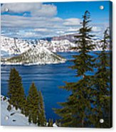 Crater Lake Winter Panorama Acrylic Print