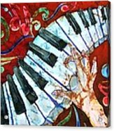 Crazy Fingers Piano Square Acrylic Print