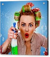 Crazy Girl Cleaning Acrylic Print