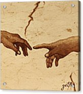 Creation Of Adam Hands A Study Coffee Painting Acrylic Print