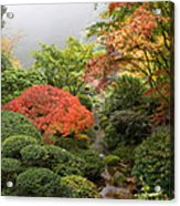 Creek At Japanese Garden In The Fall Acrylic Print