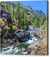 Creek Flowing Through Rocks, Icicle Acrylic Print