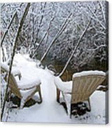 Creekside Chairs In The Snow 2 Acrylic Print