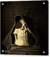 Creepy Hooded Skull Acrylic Print
