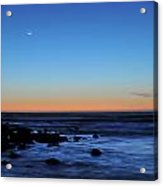 Crescent Moon Above A Rocky Shore Acrylic Print