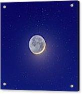 Crescent Moon With Earthshine Amid Stars Acrylic Print
