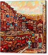 Crescent Street Family Stroll  Montreal City In Autumn City Scene Paintings Carole Spandau Acrylic Print