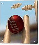 Cricket Ball Hitting Wickets Acrylic Print