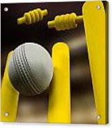 Cricket Ball Hitting Wickets Night Acrylic Print