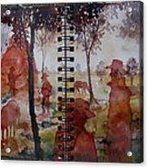 Crimson Cowboys Acrylic Print