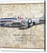 Cripes A Mighty P-51 Mustang - Map Background Acrylic Print