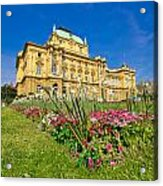 Croatian National Theatre Square In Zagreb Acrylic Print