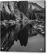 Crooked River Reflection Bw Acrylic Print