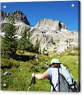 Cropped Rear View Of A Female Hiker Acrylic Print
