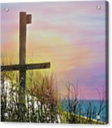 Cross At Sunset Beach Acrylic Print