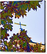 Cross Framed By Leaves Acrylic Print